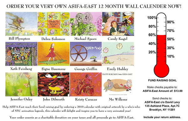 Order ASIFA-East's First 12 Month Calendar of NYC Animation Legends!