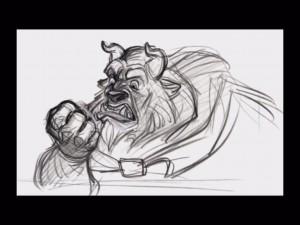 Beast rough drawing by Glen Keane
