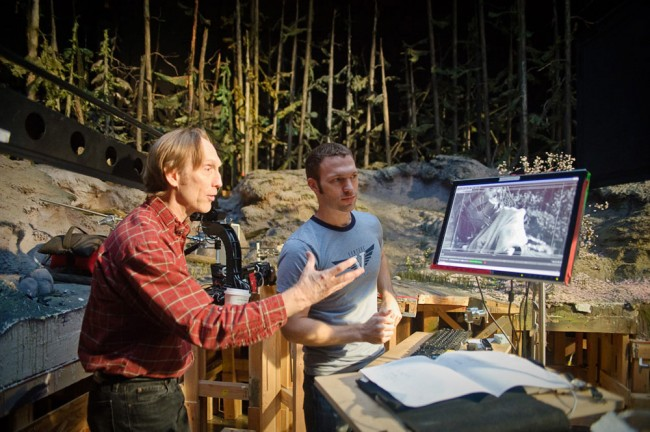 "Henry Selick, director of ""Coraline"" on the left discusses with an animator"