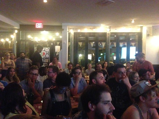 A packed beer hall!