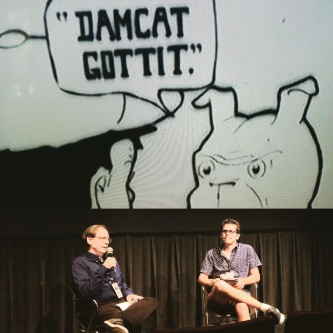 """Jerry Beck and Tommy Stathes discuss cartoon restoration @animationblockparty #abp and whether or not John Canemaker would like to do a McCay stand up act to """"Diplodocus"""" the 'rip off' Gertie Dinosaur film... #cartoonsonfilm #asifaeast #animation"""